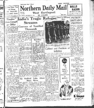 cover page of Hartlepool Northern Daily Mail published on September 25, 1947