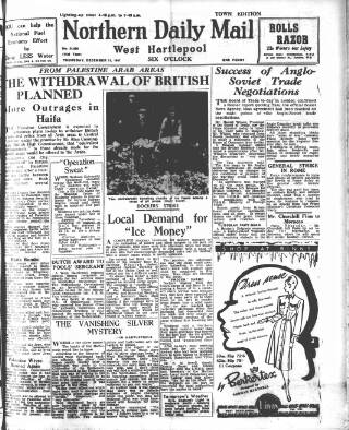 cover page of Hartlepool Northern Daily Mail published on December 11, 1947