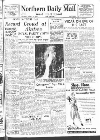 cover page of Hartlepool Northern Daily Mail published on March 25, 1950
