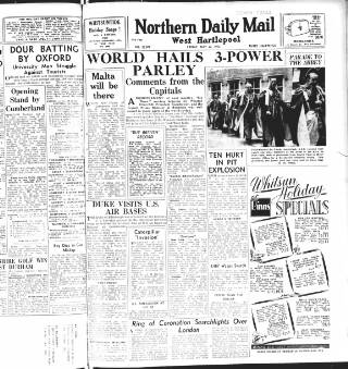 cover page of Hartlepool Northern Daily Mail published on May 22, 1953
