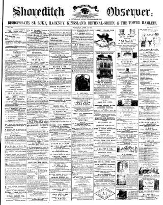 cover page of Shoreditch Observer published on April 20, 1861