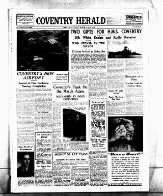 cover page of Coventry Herald published on March 19, 1938