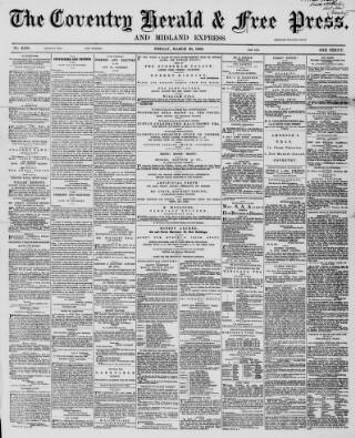cover page of Coventry Herald published on March 20, 1868