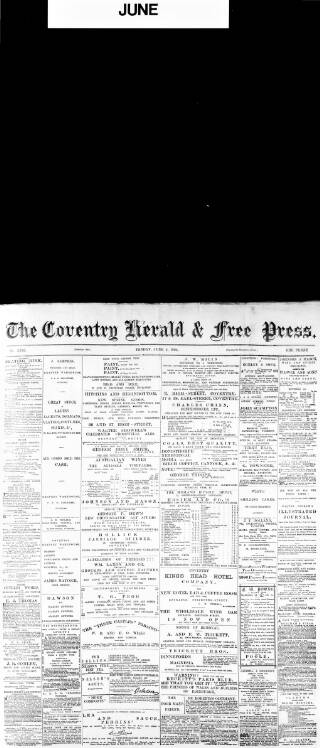 cover page of Coventry Herald published on June 4, 1880