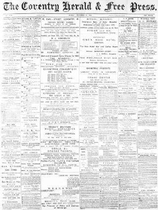 cover page of Coventry Herald published on December 10, 1880