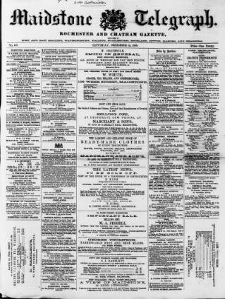 cover page of Maidstone Telegraph published on December 15, 1860