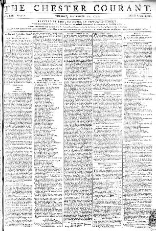 cover page of Chester Courant published on September 22, 1795