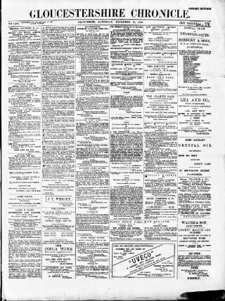 cover page of Gloucestershire Chronicle published on December 15, 1900