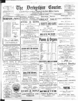 cover page of Derbyshire Courier published on February 16, 1909