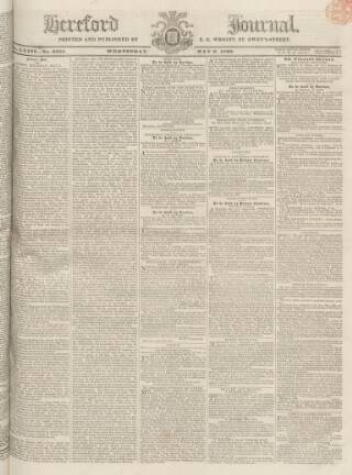 cover page of Hereford Journal published on May 9, 1832