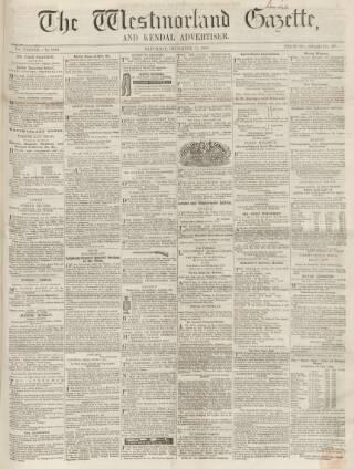 cover page of Westmorland Gazette published on December 15, 1855
