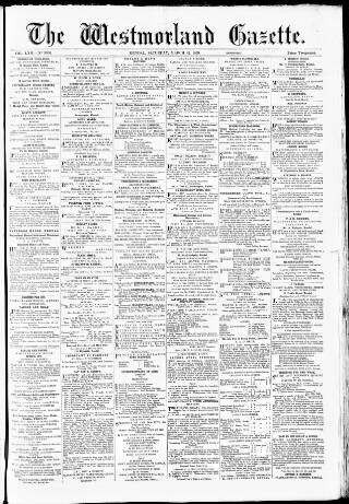 cover page of Westmorland Gazette published on March 22, 1879