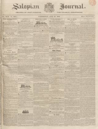 cover page of Salopian Journal published on July 22, 1835