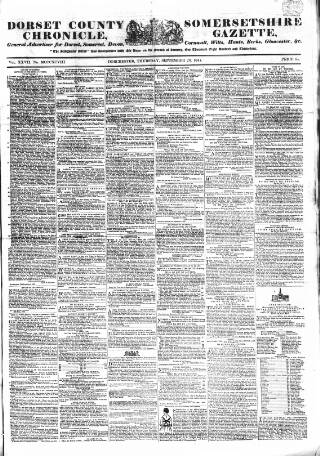 cover page of Dorset County Chronicle published on September 23, 1847