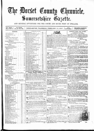 cover page of Dorset County Chronicle published on February 19, 1857