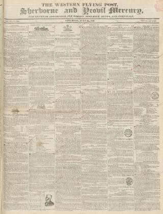 cover page of Sherborne Mercury published on July 25, 1846