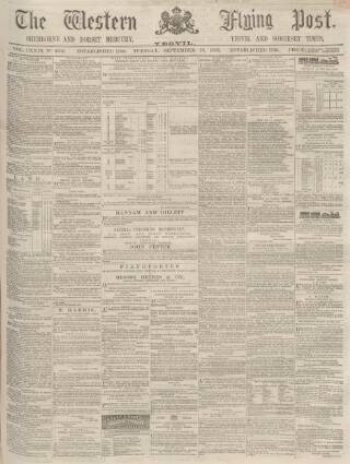 cover page of Sherborne Mercury published on September 19, 1865