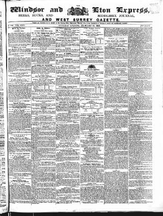 cover page of Windsor and Eton Express published on February 19, 1853