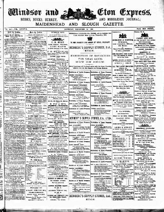 cover page of Windsor and Eton Express published on December 10, 1898