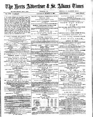 cover page of Herts Advertiser published on March 19, 1887