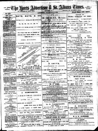 cover page of Herts Advertiser published on December 14, 1895