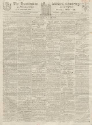 cover page of Huntingdon, Bedford & Peterborough Gazette published on July 18, 1818