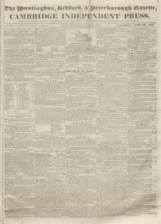 cover page of Huntingdon, Bedford & Peterborough Gazette published on April 22, 1837