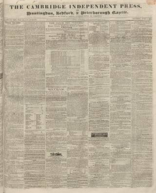 cover page of Huntingdon, Bedford & Peterborough Gazette published on June 1, 1839