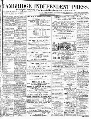 cover page of Cambridge Independent Press published on June 3, 1871