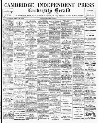 cover page of Cambridge Independent Press published on April 24, 1903