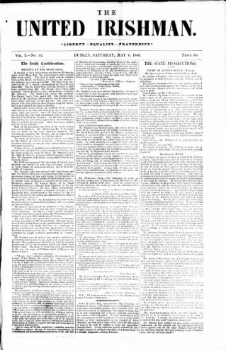 cover page of United Irishman published on May 6, 1848