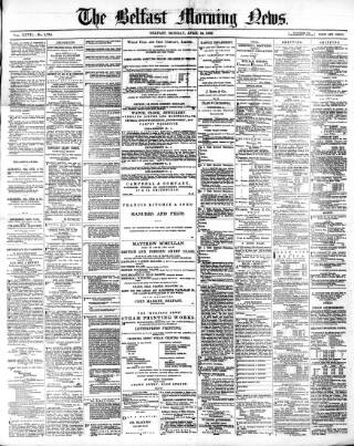 cover page of Belfast Morning News published on April 24, 1882