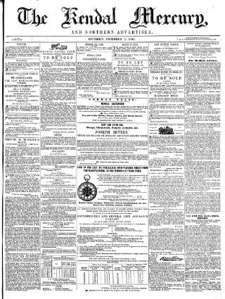 cover page of Kendal Mercury published on December 11, 1852