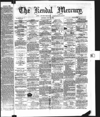 cover page of Kendal Mercury published on July 19, 1873