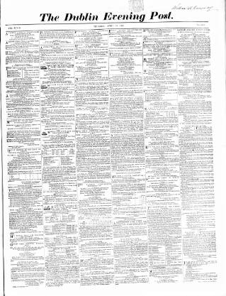 cover page of Dublin Evening Post published on April 19, 1860