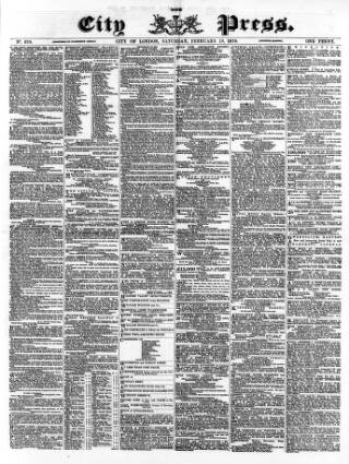 cover page of London City Press published on February 19, 1870