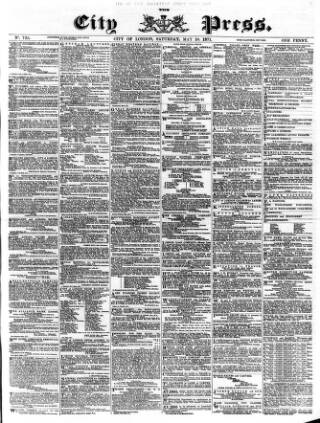 cover page of London City Press published on May 20, 1871