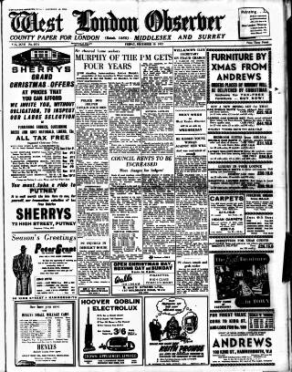 cover page of West London Observer published on December 19, 1952