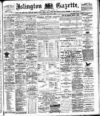 cover page of Islington Gazette published on February 22, 1899