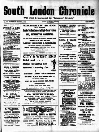 cover page of South London Chronicle published on March 21, 1903