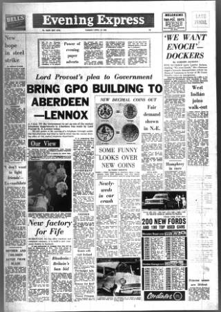 cover page of Aberdeen Evening Express published on April 23, 1968
