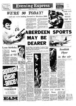 cover page of Aberdeen Evening Express published on January 20, 1969
