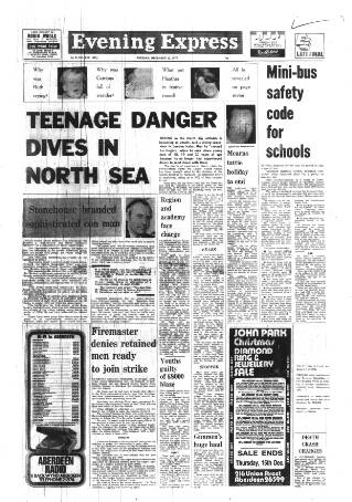 cover page of Aberdeen Evening Express published on December 13, 1977