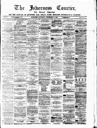 cover page of Inverness Courier published on December 16, 1882
