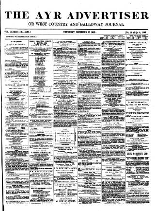 cover page of Ayr Advertiser, or, West Country Journal published on December 17, 1885