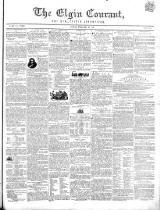 cover page of Elgin Courant, and Morayshire Advertiser published on February 20, 1852