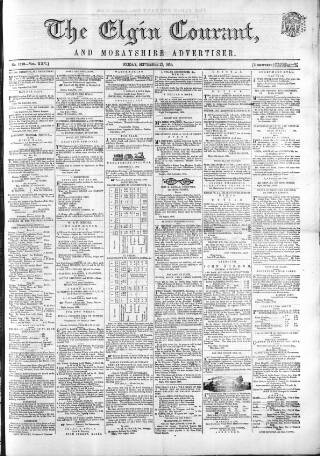 cover page of Elgin Courant, and Morayshire Advertiser published on September 23, 1859