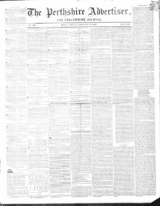 cover page of Perthshire Advertiser published on February 16, 1843