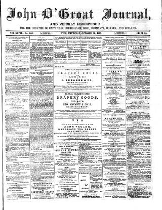 cover page of John o' Groat Journal published on October 18, 1883