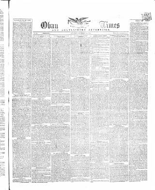 cover page of Oban Times, and Argyllshire Advertiser published on September 25, 1869